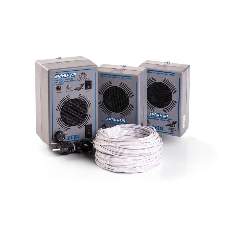 Kit Espanta Rato ERMU-1/5 com 2 x ERMU-UR com 40 metros de fio