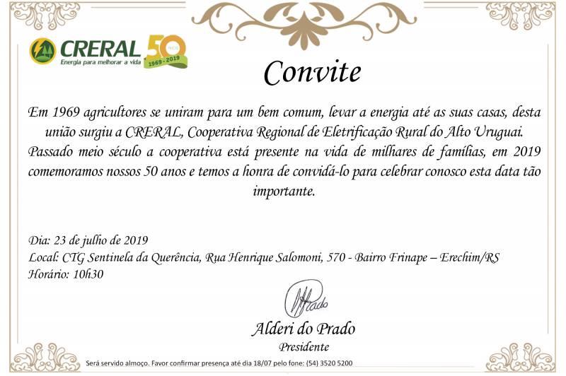 Convite dos 50 anos da Creral