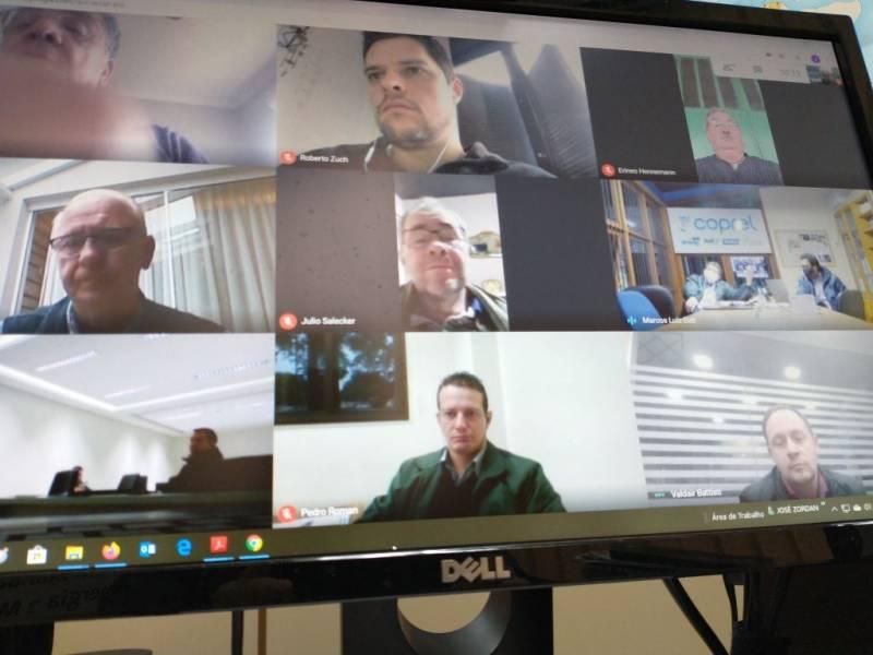 Participantes da videoconferência da Fecoergs