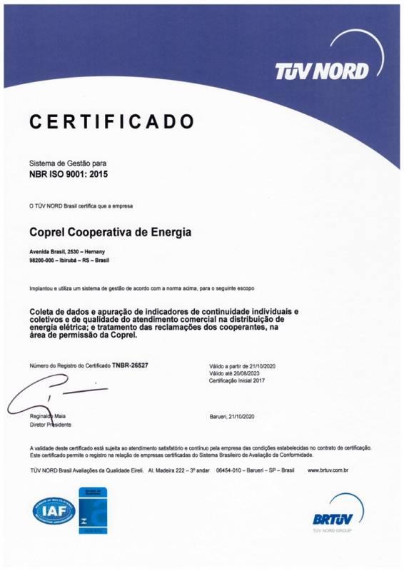 Certificado ISO 2020 COPREL